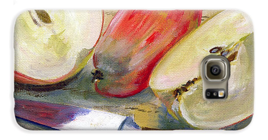 Still-life Galaxy S6 Case featuring the painting Apple by Sarah Lynch