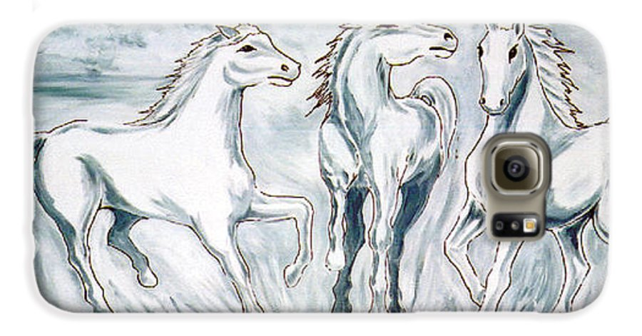 Horses Galaxy S6 Case featuring the painting Arabian Roots by Marco Morales