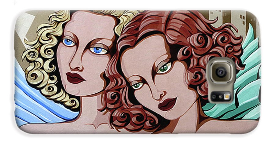 Portrait Galaxy S6 Case featuring the painting Arielle And Gabrielle by Tara Hutton