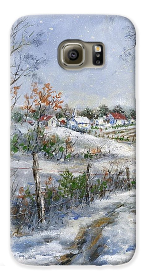 Snowfall Galaxy S6 Case featuring the painting Around The Bend Sold by Virginia Potter