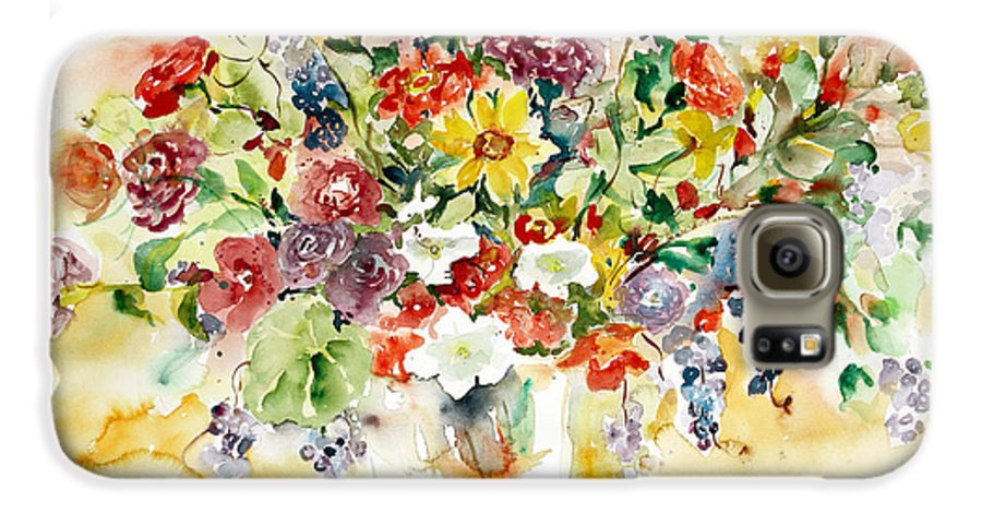 Watercolor Galaxy S6 Case featuring the painting Arrangement IIi by Alexandra Maria Ethlyn Cheshire