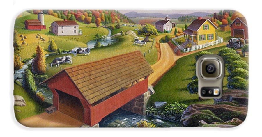Covered Bridge Galaxy S6 Case featuring the painting Folk Art Covered Bridge Appalachian Country Farm Summer Landscape - Appalachia - Rural Americana by Walt Curlee