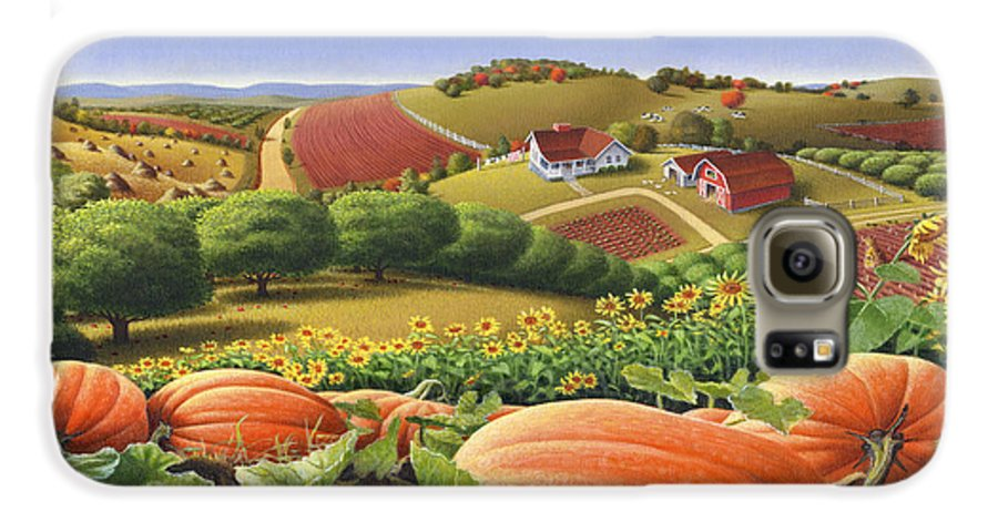 Pumpkin Galaxy S6 Case featuring the painting Farm Landscape - Autumn Rural Country Pumpkins Folk Art - Appalachian Americana - Fall Pumpkin Patch by Walt Curlee