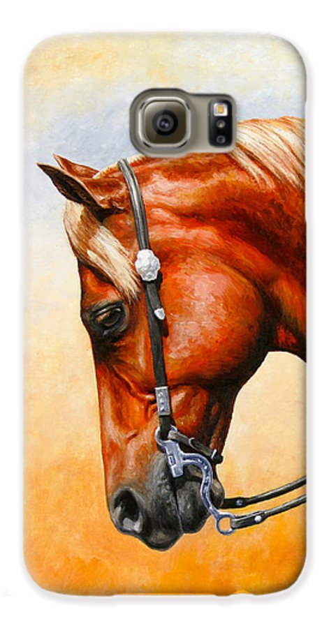Horse Galaxy S6 Case featuring the painting Precision - Horse Painting by Crista Forest