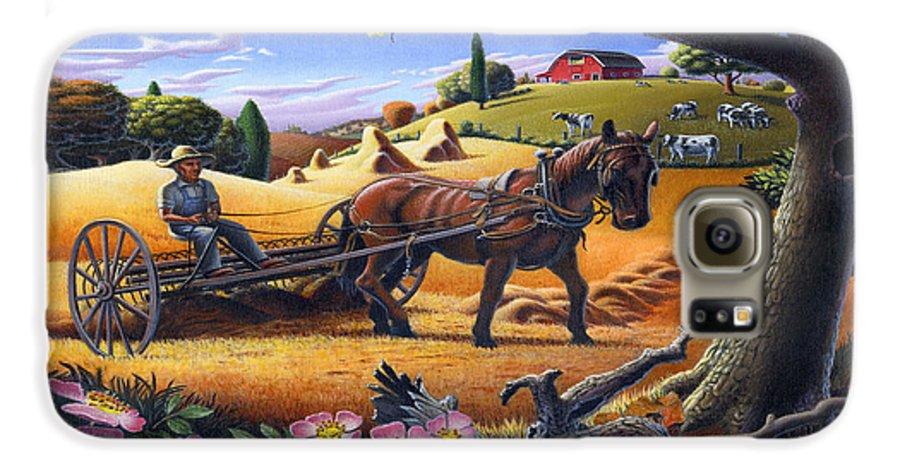 Raking Hay Galaxy S6 Case featuring the painting Raking Hay Field Rustic Country Farm Folk Art Landscape by Walt Curlee