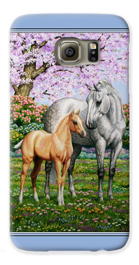 Horse Galaxy S6 Case featuring the painting Spring's Gift - Mare And Foal by Crista Forest
