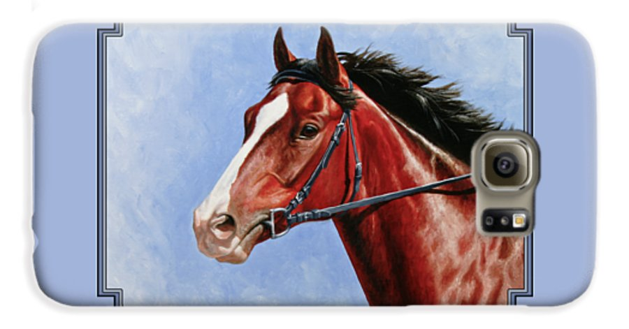 Horse Galaxy S6 Case featuring the painting Horse Painting - Determination by Crista Forest