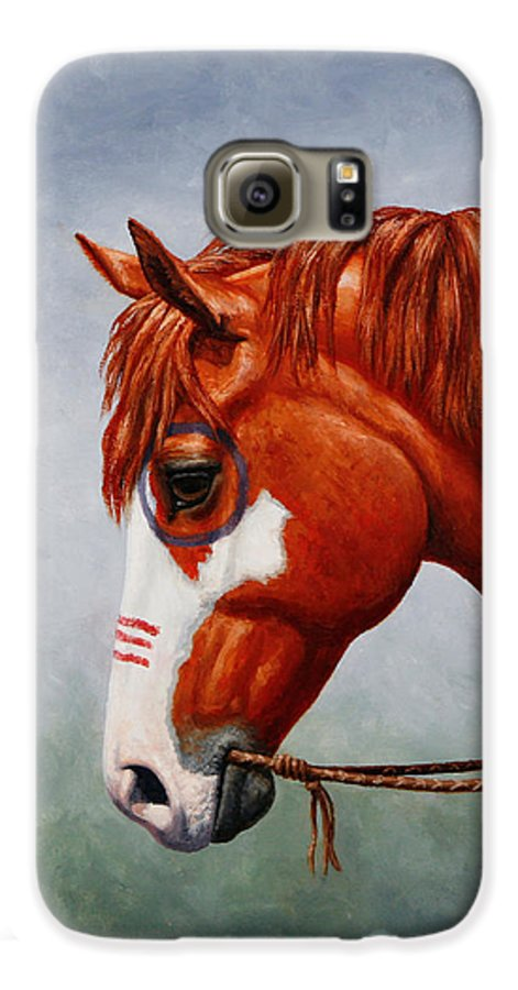 Horse Galaxy S6 Case featuring the painting Native American War Horse by Crista Forest