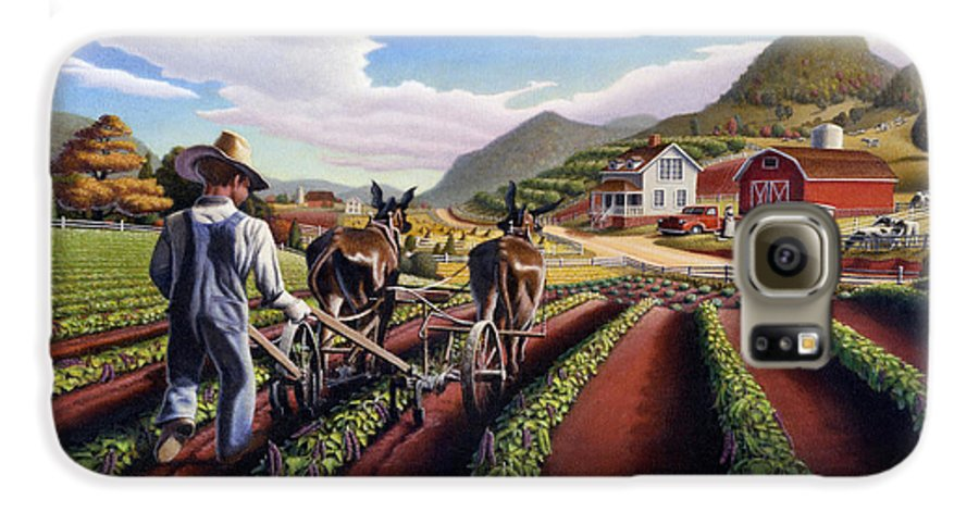 Appalachian Galaxy S6 Case featuring the painting Appalachian Folk Art Summer Farmer Cultivating Peas Farm Farming Landscape Appalachia Americana by Walt Curlee