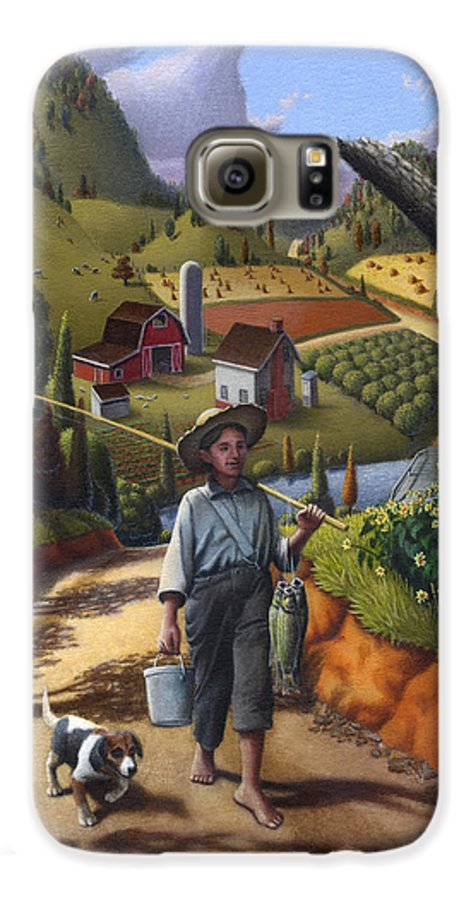Boy And Dog Galaxy S6 Case featuring the painting Boy And Dog Farm Landscape - Flashback - Childhood Memories - Americana - Painting - Walt Curlee by Walt Curlee