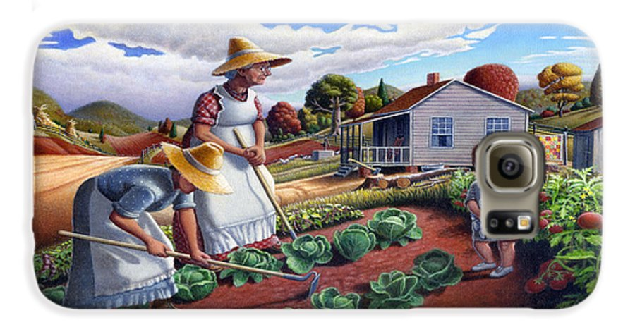 Farm Family Galaxy S6 Case featuring the painting Family Vegetable Garden Farm Landscape - Gardening - Childhood Memories - Flashback - Homestead by Walt Curlee