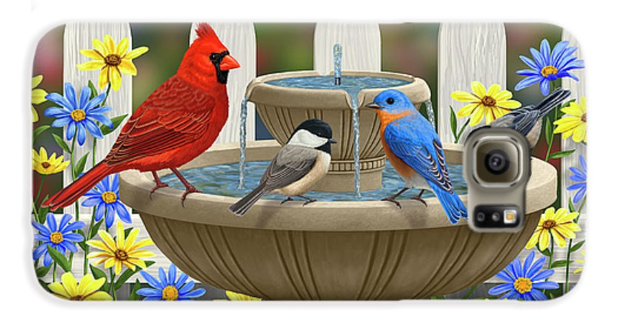 Birds Galaxy S6 Case featuring the painting The Colors Of Spring - Bird Fountain In Flower Garden by Crista Forest