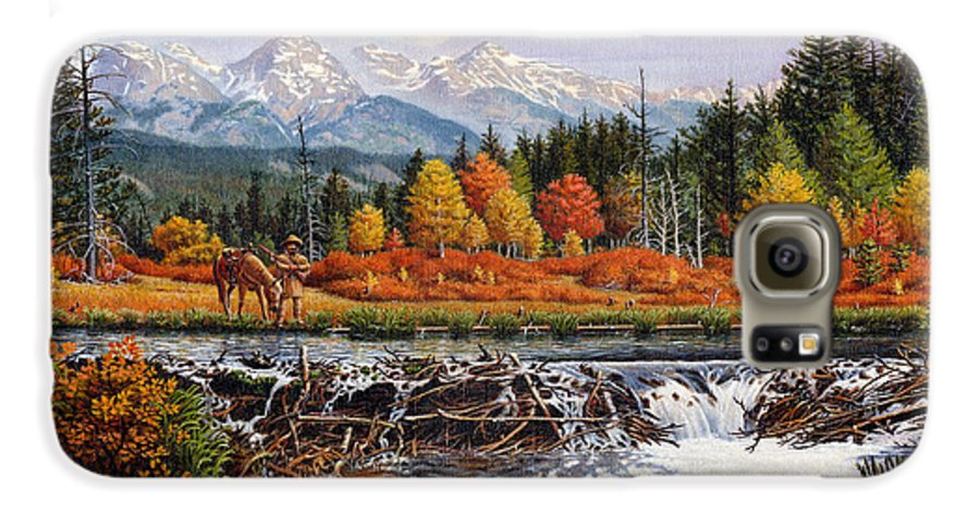 Western Mountain Landscape Galaxy S6 Case featuring the painting Western Mountain Landscape Autumn Mountain Man Trapper Beaver Dam Frontier Americana Oil Painting by Walt Curlee