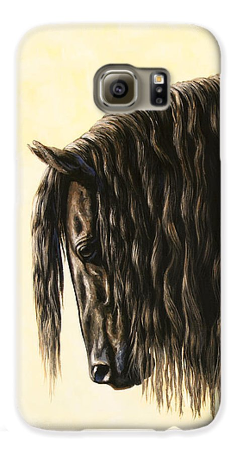 Horse Galaxy S6 Case featuring the painting Horse Painting - Friesland Nobility by Crista Forest