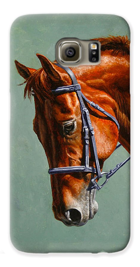 Horse Galaxy S6 Case featuring the painting Horse Painting - Focus by Crista Forest
