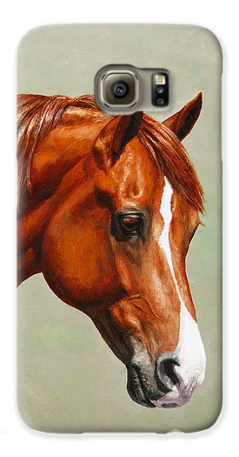 Horse Galaxy S6 Case featuring the painting Morgan Horse - Flame by Crista Forest