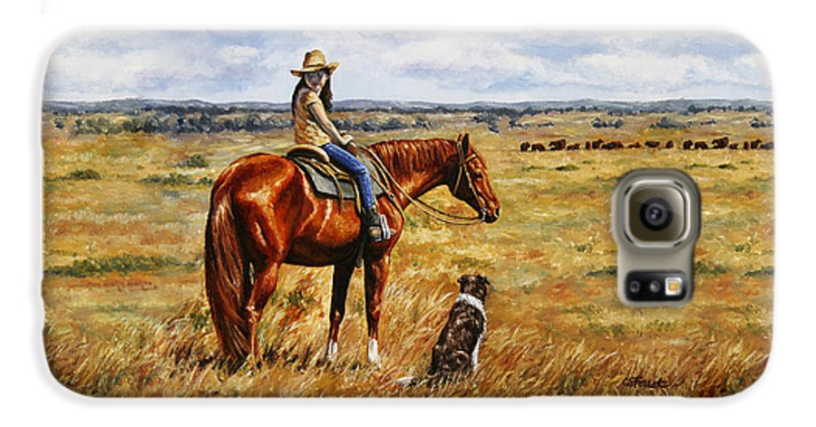Western Galaxy S6 Case featuring the painting Horse Painting - Waiting For Dad by Crista Forest