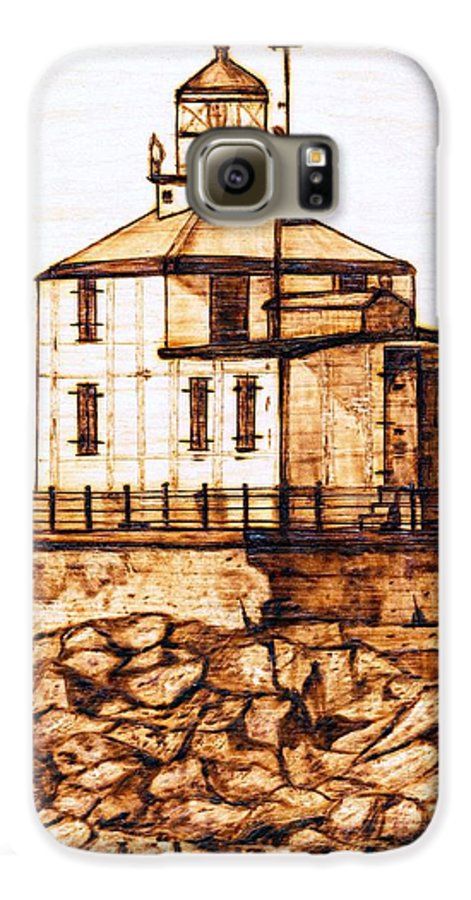 Lighthouse Galaxy S6 Case featuring the pyrography Ashtabula Harbor by Danette Smith