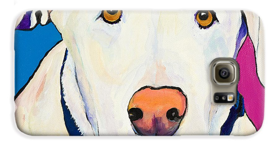 White Lab Yellow Lab Animal Paintings Golden Eyes Square Format Dogs Pets Rescued Galaxy S6 Case featuring the painting Aslinn by Pat Saunders-White