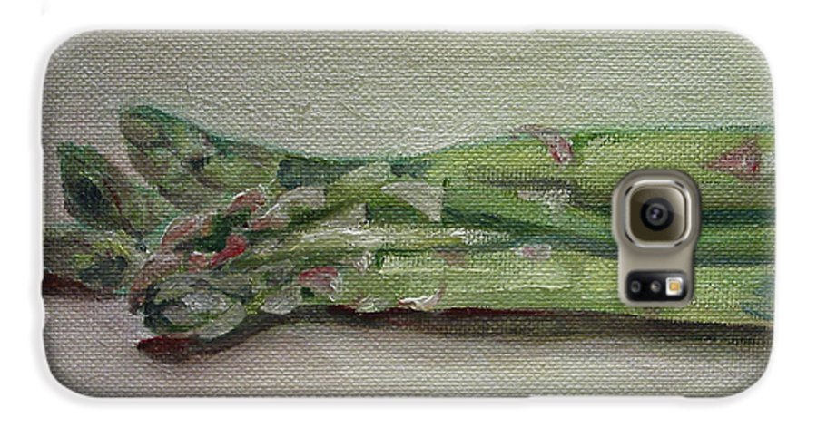 Food Galaxy S6 Case featuring the painting Asparagus by Sarah Lynch