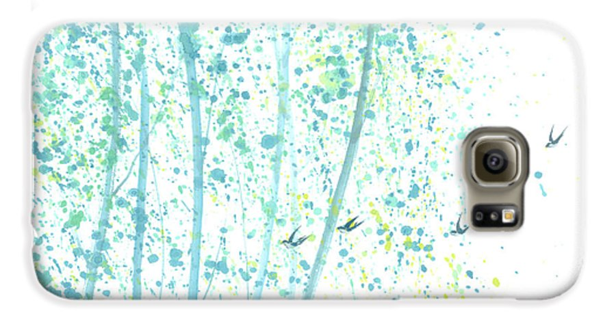Birds Flying Through An Aspen Forest. This Is A Contemporary Chinese Ink And Color On Rice Paper Painting With Simple Zen Style Brush Strokes. Galaxy S6 Case featuring the painting Aspen Forest by Mui-Joo Wee