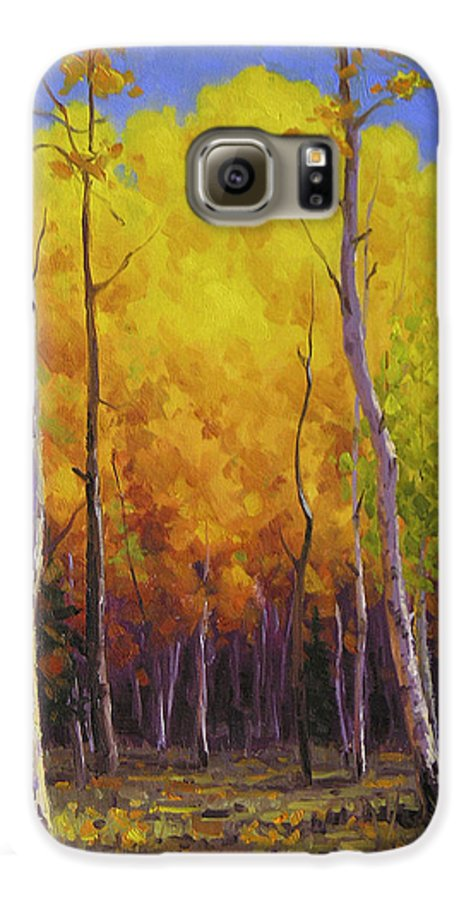 Landscape Galaxy S6 Case featuring the painting Aspen Glow by Cody DeLong