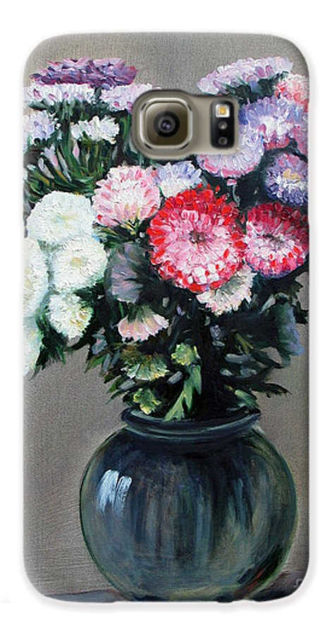 Flowers Galaxy S6 Case featuring the painting Asters by Paul Walsh