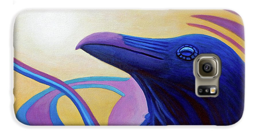 Raven Galaxy S6 Case featuring the painting Astral Raven by Brian Commerford