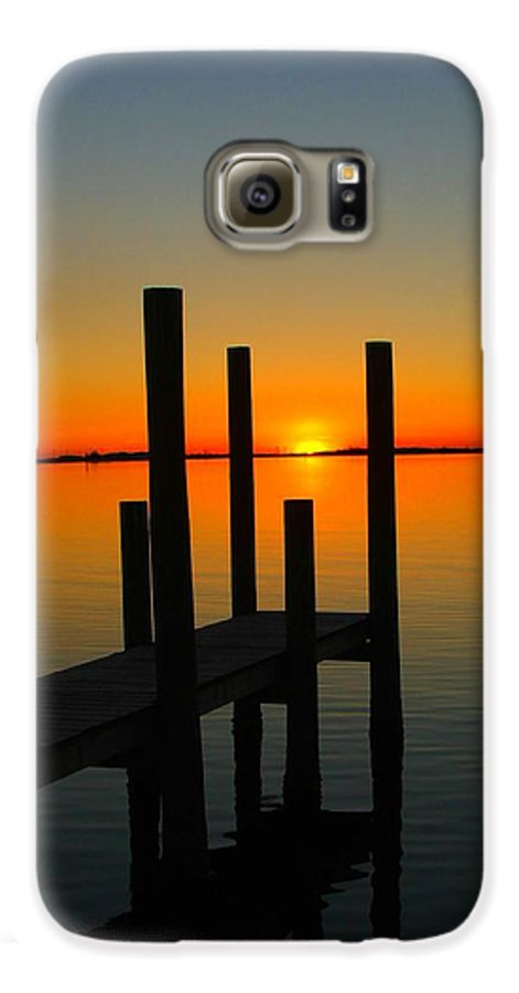 Sunset Galaxy S6 Case featuring the photograph At The Pier by Judy Waller