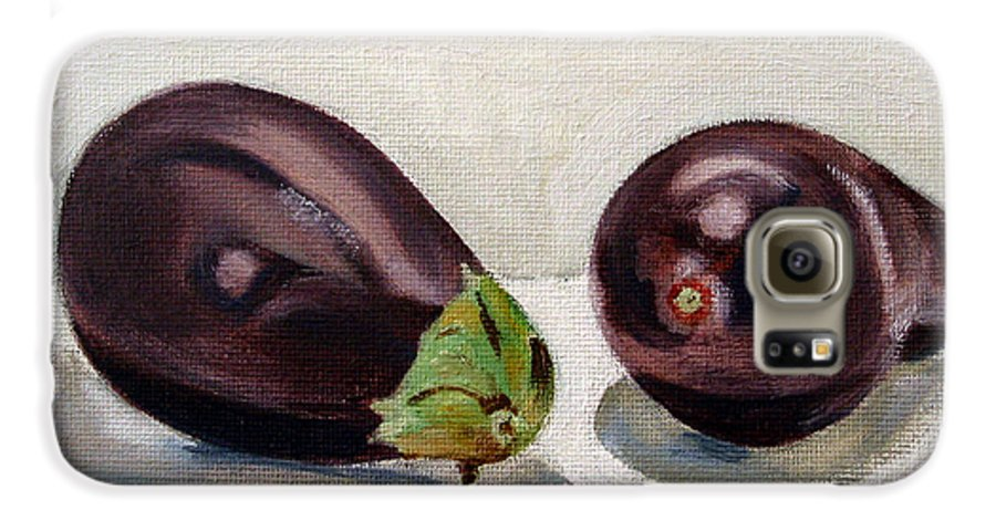 Still-life Galaxy S6 Case featuring the painting Aubergines by Sarah Lynch