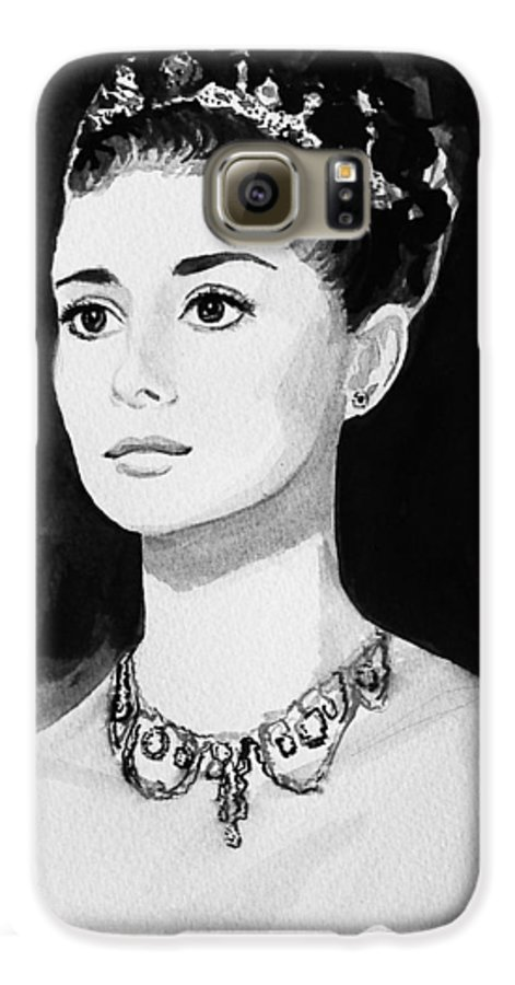 Audrey Hepburn Galaxy S6 Case featuring the painting Audrey by Laura Rispoli