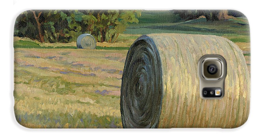 Landscape Galaxy S6 Case featuring the painting August Bales by Bruce Morrison