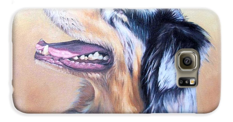 Dog Galaxy S6 Case featuring the painting Australian Shepherd Dog by Nicole Zeug