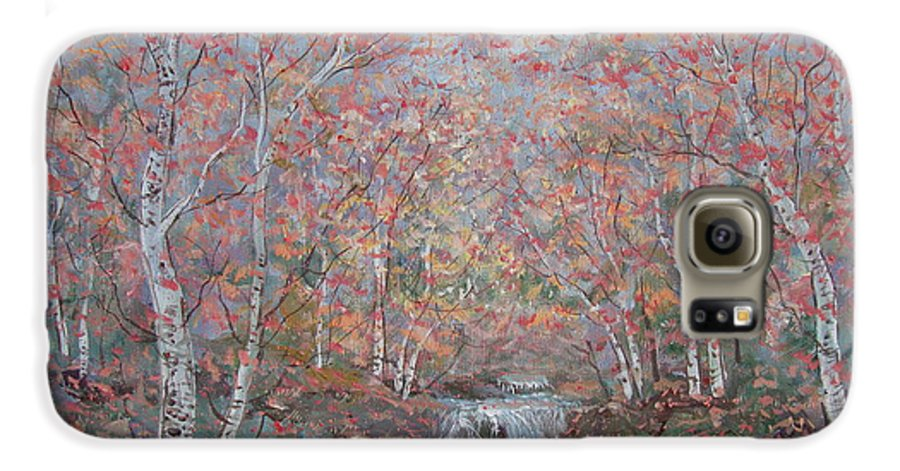 Landscape Galaxy S6 Case featuring the painting Autumn Birch Trees. by Leonard Holland