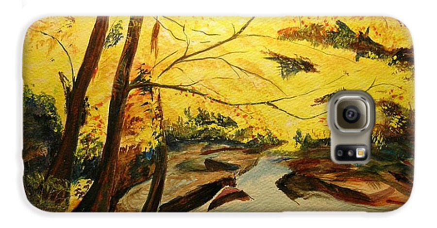 Trees In Autumn Galaxy S6 Case featuring the painting Autumn Colours by Lizzy Forrester