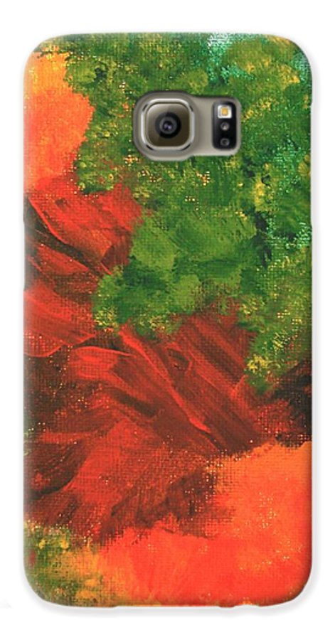 Abstract Galaxy S6 Case featuring the painting Autumn Equinox by Itaya Lightbourne