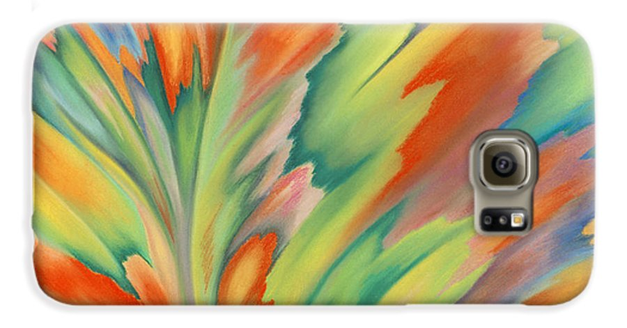 Abstract Galaxy S6 Case featuring the painting Autumn Flame by Lucy Arnold