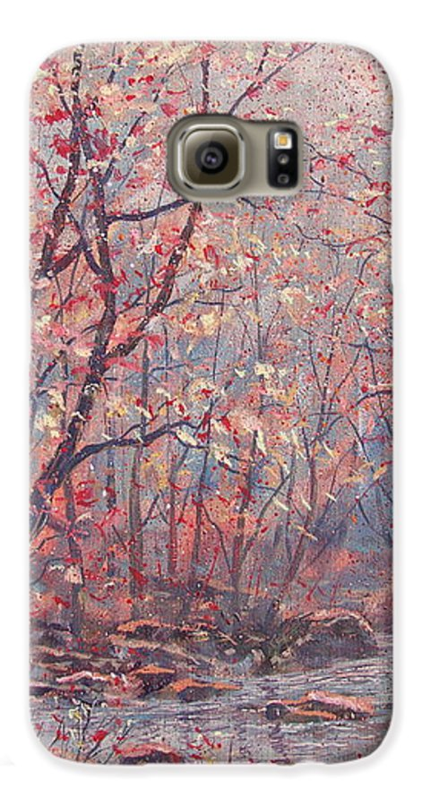 Landscape Galaxy S6 Case featuring the painting Autumn Harmony. by Leonard Holland