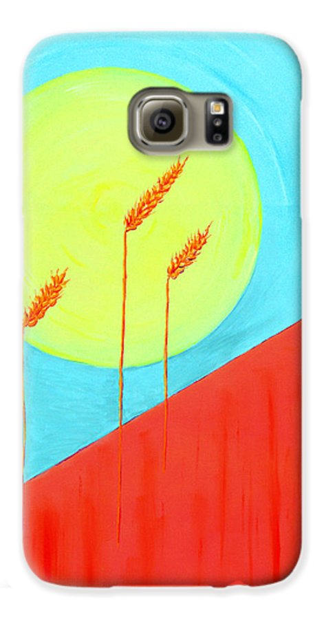 Landscape Galaxy S6 Case featuring the painting Autumn Harvest by J R Seymour