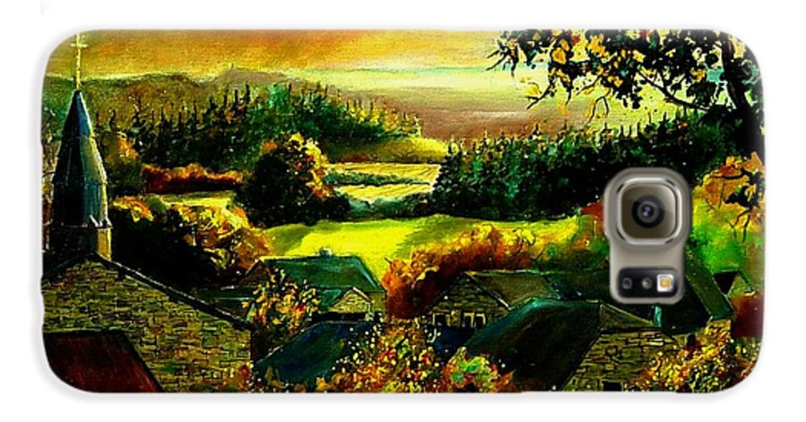 Landscape Galaxy S6 Case featuring the painting Autumn In Our Village Ardennes by Pol Ledent