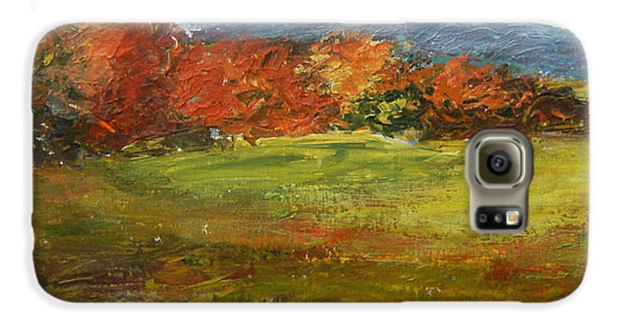Landscape Galaxy S6 Case featuring the painting Autumn Is Here by Tami Booher
