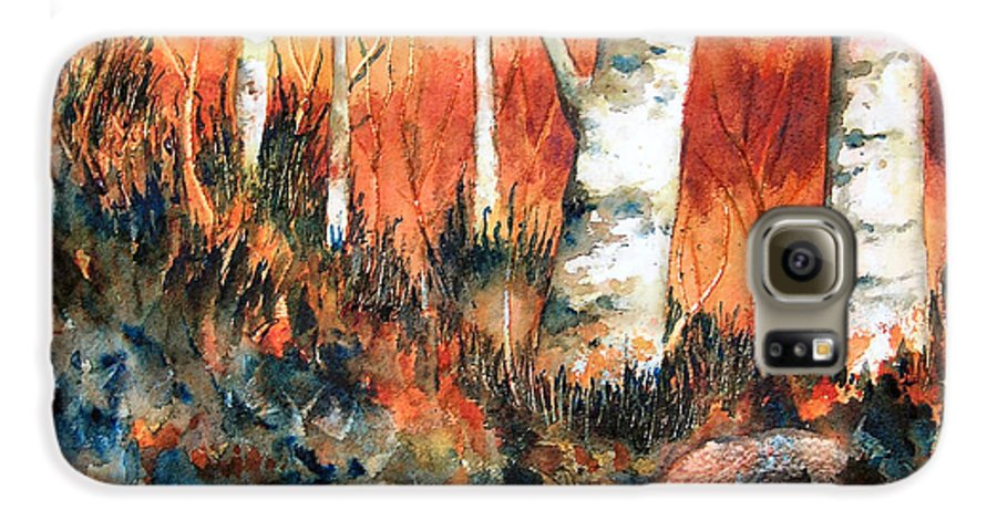 Landscape Galaxy S6 Case featuring the painting Autumn by Karen Stark