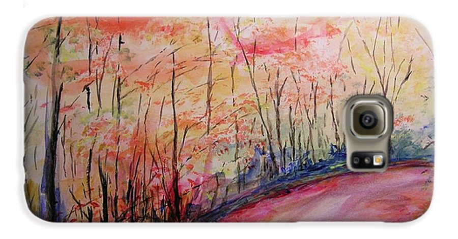 Landsape Galaxy S6 Case featuring the painting Autumn Lane II by Lizzy Forrester