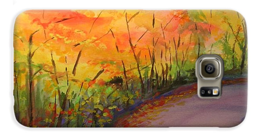Original Landscape Impressionist Painting Galaxy S6 Case featuring the painting Autumn Lane IIi by Lizzy Forrester
