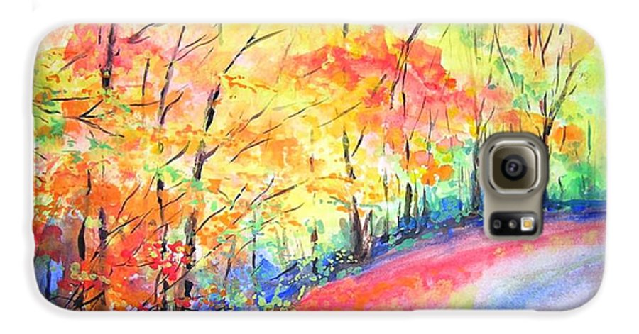 Autumn Galaxy S6 Case featuring the painting Autumn Lane Iv by Lizzy Forrester