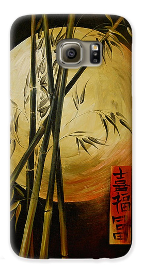 Asian Moon Bamboo Galaxy S6 Case featuring the painting Autumn Moon by Dina Dargo