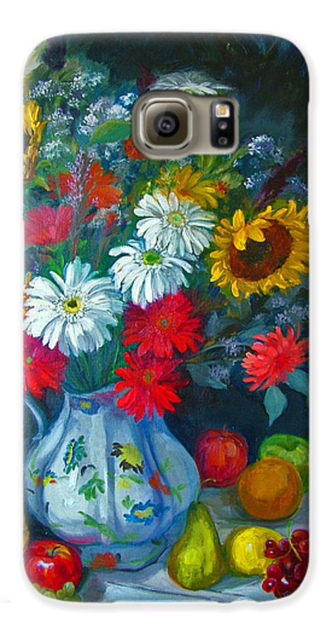 Fruit And Many Colored Flowers In Masson Ironstone Pitcher. A Large Still Life. Galaxy S6 Case featuring the painting Autumn Picnic by Nancy Paris Pruden