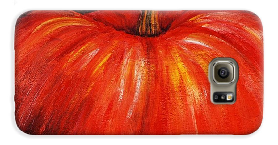 Orange Galaxy S6 Case featuring the painting Autumn Pumpkins by Nadine Rippelmeyer