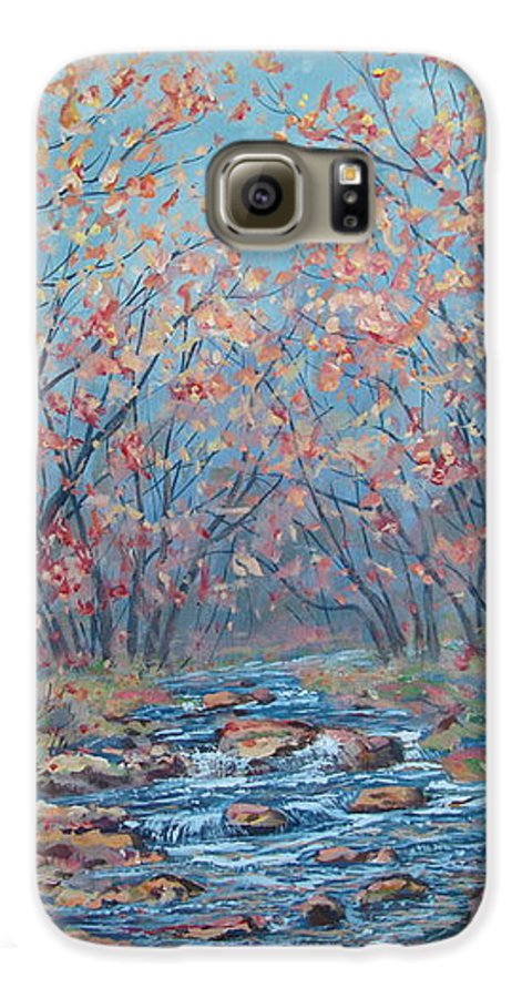 Landscape Galaxy S6 Case featuring the painting Autumn Serenity by Leonard Holland
