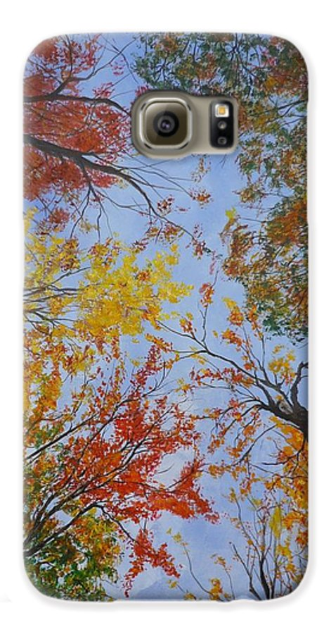 Tree Galaxy S6 Case featuring the painting Autumn Sky by Lizzy Forrester